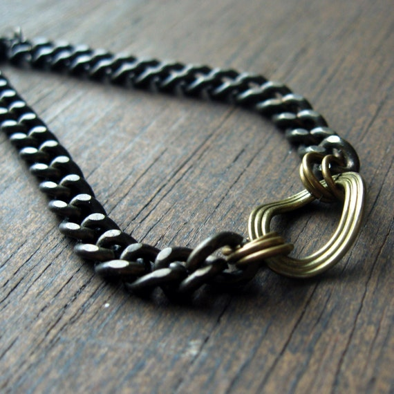 minimal simple chain wavy link brass gunmetal bracelet unisex bracelet for layering