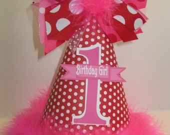 Personalized  Red Valentine Birthday Party Hat