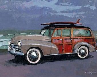 Art Print Chevy Woodie Vintage Retro Beach Surf 9x12 on 11x14 - Chevy Woodie by David Lloyd