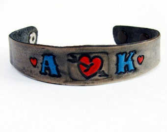 Personalized Bracelet Leather Custom Initials Adjustable Tattoo style