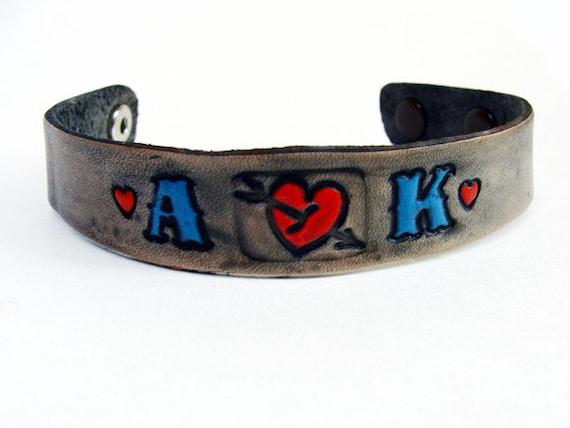 Personalized Bracelet Leather Custom Initials Adjustable Tattoo style