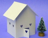 Tea Light Sweetheart House - Little Paper Light-up House and Miniature Tree Valentines Day Love House