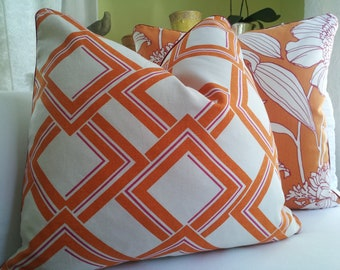 "22"" Duralee Orange - White Trellis Handmade Pillow Cover Accent Throw Pillow Decorative Designer Pillows Contrast Welt piping"