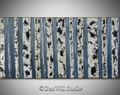 BIRCH Tree Painting ORIGINAL Gray White Birch Forest LARGE Contemporary Art Oil Painting on Gallery Canvas 48x24 by BenWill