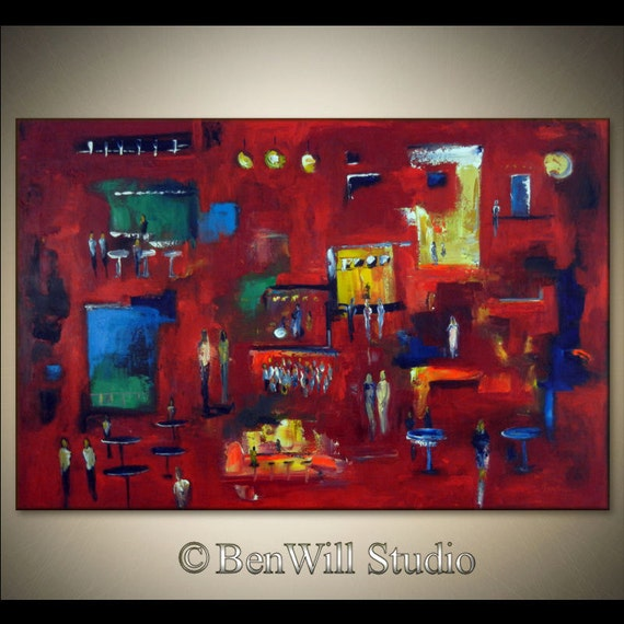 """54 """" Original Painting HUGE RED Abstract Modern Art Painting - City at Night - The NIGHTCLUB 54x36 Contemporary Art by BenWill"""
