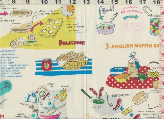Japanese Fabric: Recipe's To Cook, White, FQ