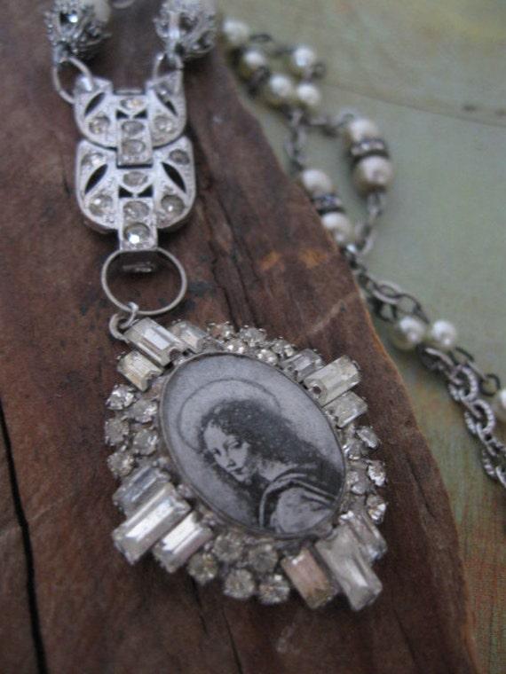Stillpoint... vintage paste repurposed renaissance madonna necklace