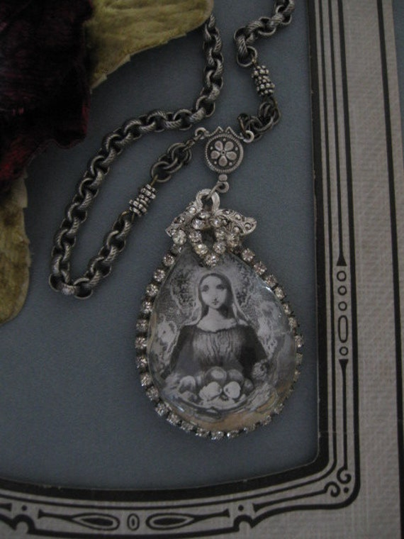 She Came In A Dream...long vintage repurposed necklace