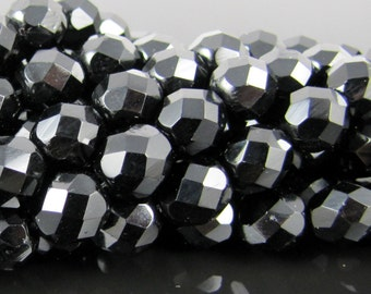 CLOSEOUT SALE for Czech Glass Faceted Firepolish Beads - Jet Black 8mm (25)