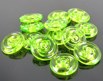 Lime Green Mini Lampwork Glass Spacer Disc Beads-Set of 10
