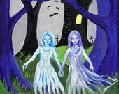 Ghost Sisters Halloween horror art print reproduction 5 x 7 inch haunted tower blue purple spooky girls night forest bats graveyard cemetery
