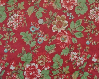 Laminated Cotton: Maison de Noel by 3 Sisters for Moda (deep red) - 1 Yard