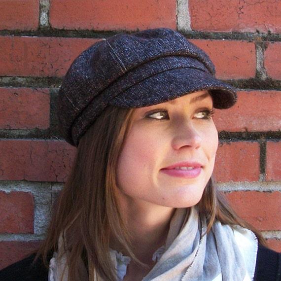 Brown and Black Wool Tweed Newsboy Cap, Womens Hat - M