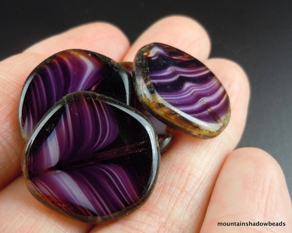 NEW - Czech Picasso Beads - X Large Coin Dark Amethyst White Table Cut 21mm - 4