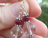 Turn of the Century Earrings- Ruby, Rock Crystal and Sterling Silver