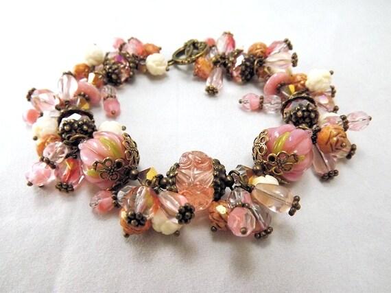 Dusty rose lampwork beaded charm bracelet and earrings set, Vintage Rose, TPMB