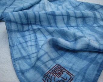 Indigo Crisscrosses on Silk - scarf