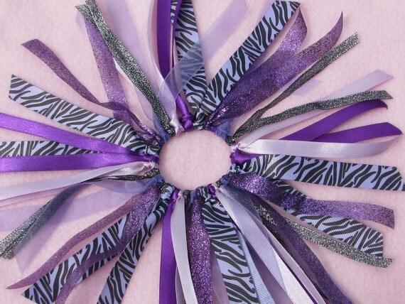 Purple Zebra Hair Scrunchie Hair Bun Ribbons Team and School Colors Cheer Bows