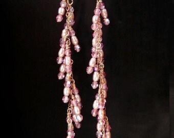 Wedding Pearl Chandelier Earrings, Pink Accessories, Pearl Jewelry, Gold And Pink Pearl Earrings - Sweet Pink
