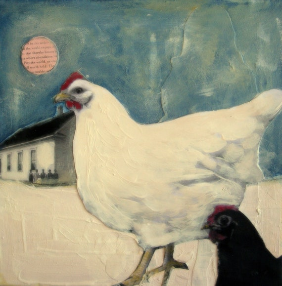 Hens by moonlight chicken portrait painting on canvas