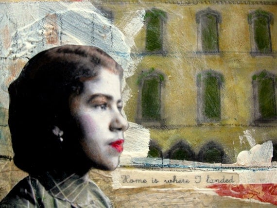Home is where I landed African American vintage woman original painting