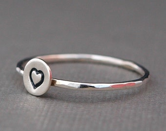 Tiny Heart Ring , Sterling Silver Heart Ring , Tiny Silver Ring