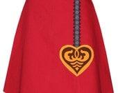 pendulum skirt - red - cuckoo clock pendulum applique with vintage jacquard ribbon trim