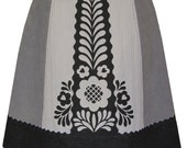strudel skirt - greys and black - modern folkloric floral screen print texture mix skirt with ric rac trim