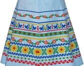 ribbon print skirt - blue - alpine folk trim inspired hand screen printed design