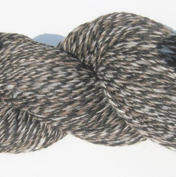 Hand spun Alpaca Yarn - Black, Brown, and White - 353 yards, 230 grams - Worsted Weight
