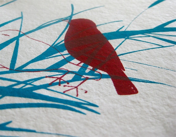 SPECIAL ORDER - Elisa Priest - Red Bird Print/Card  - Christmas colors screen print on japanese paper (5x7)
