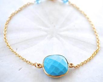 Turquoise Delicate Chain Bracelet