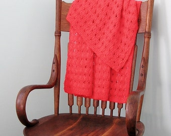 Red Afghan, Baby or Lap Blanket Handknitted in Holiday Red, CrissCross