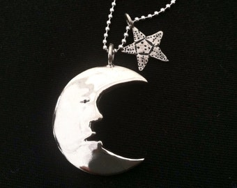 Moon Man & Starfish Dollar Dime Necklace 2 Vintage American Silver Liberty Coins