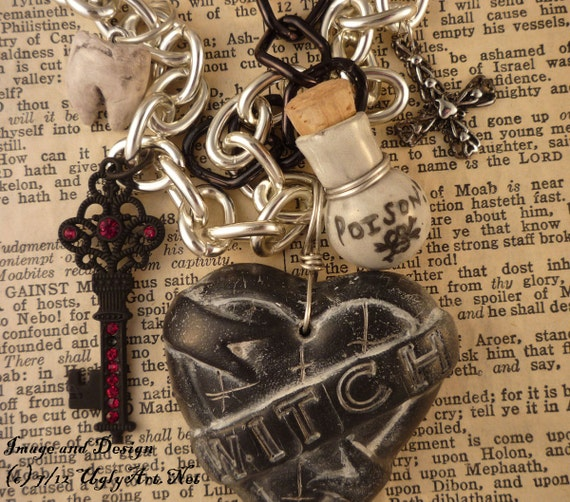 Witch Tattoo Heart Charm Necklace one of a kind by Ugly Shyla