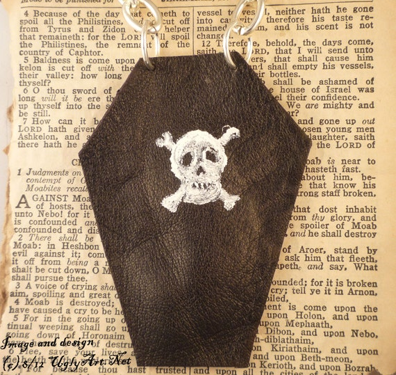 Leather Coffin Gris Gris Bag Necklace for Jinx Removing and Jinx Protection