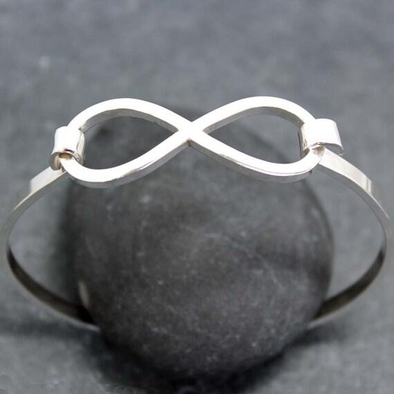 INFINITY Charm Bangle II, Bracelet, Cuff, Sterling, Silver, Nickel Free, Forever, Eternity, Beyond, Love, Friendship, for men, man
