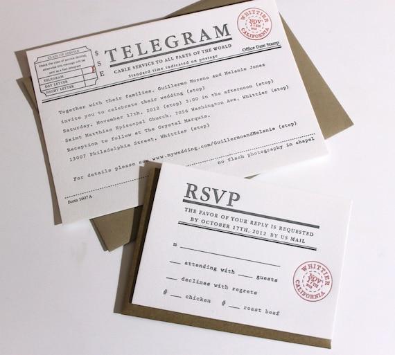 Telegram Wedding Invitations Set Of 100