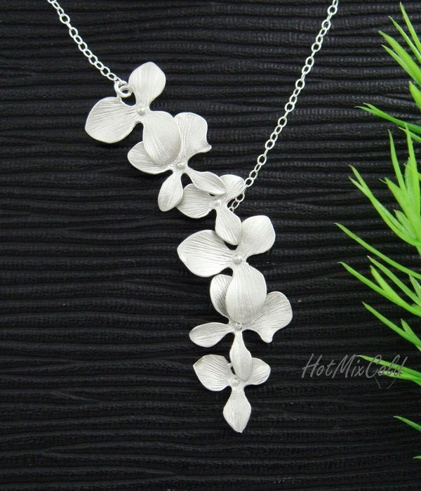 Orchid Trellis New Diamontrigue Jewelry: Trio Orchid Flower Necklace / Dainty STERLING Silver Necklace