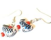 Sale Save 10% Sushi Earrings -- Porcelain Earrings Kawaii Earrings