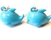 Sale 10% Off Brass Bell Dangle Earrings -- Blue Dolphins Jewelry Kawaii Earrings