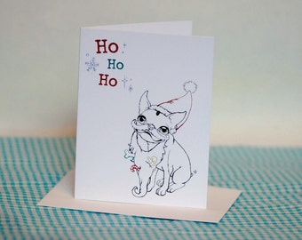 Boston Terrier Santa Holiday Greeting Card