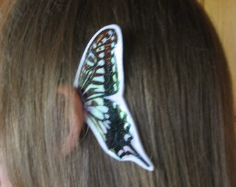 Stained Glass look White Butterfly Ear Wings