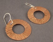 Hammered Copper Circle within a Circle with Lines Earrings
