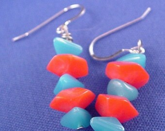 Acrylic Coral and Blue Chunky Dangle Earrings Acrylic Earrings Clip On Earing Clip On Earring Chunky Earring Ear Beads BE1390