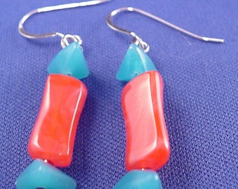 Acrylic Coral and Blue Dangle Earrings Acrylic Earrings Clip On Earing Clip On Earrings Acrylic Jewelry Ear Beads BE1397