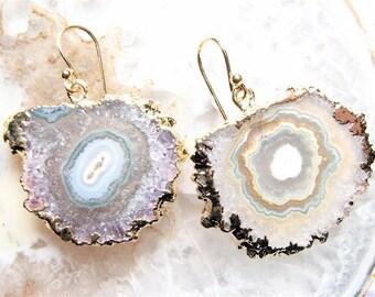Lavender, Stalactite Slice Earrings