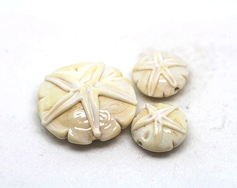 Made to order Margo lampwork beads sand dollar ivory (3)