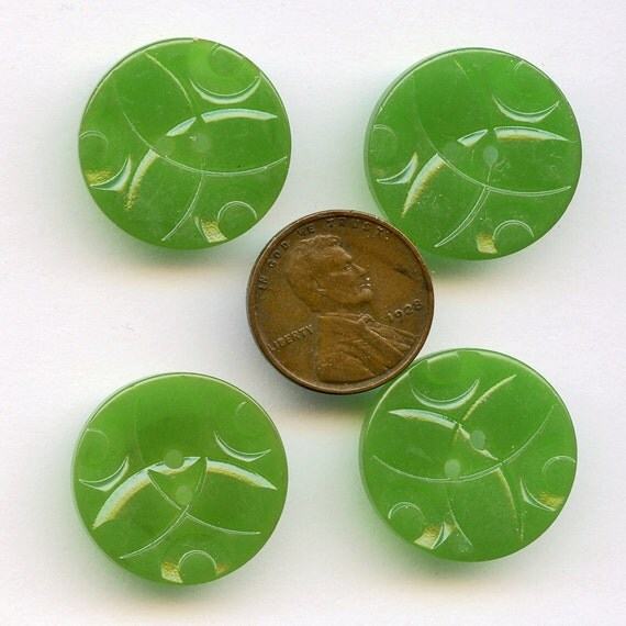 Carved GREEN  Buttons Vintage 1940s   Set of 4 Art Deco Casein Oval  Buttons 7/8 inch size 8144 MORE AVAlLABLE