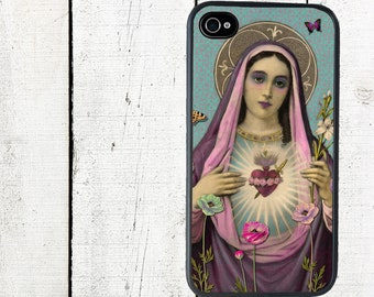 iphone 6 case Virgin Mary Blessed Heart Cell Phone Case - iPhone 4 and 4s Case - iPhone 5 Case - Galaxy s3 s4 s5